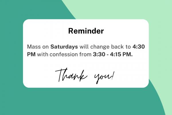 Saturday Mass Time Change